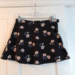 Black Denim Mini Skirt w/ Floral Print